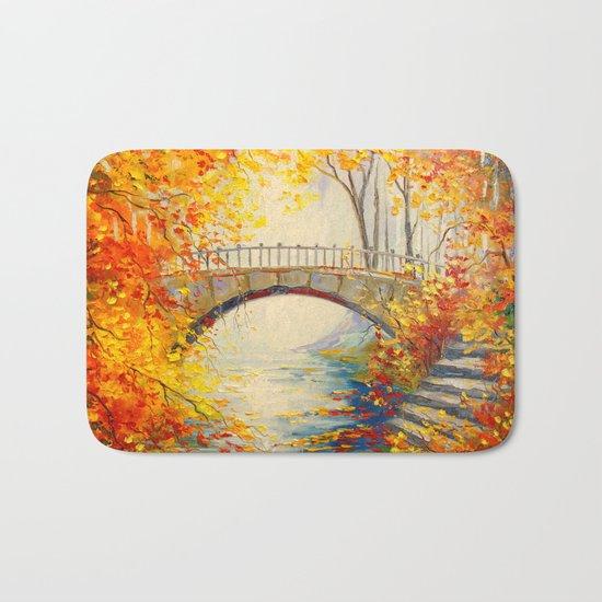 Autumn near the bridge Bath Mat
