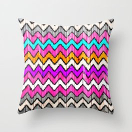 Andes Tribal Aztec Pink chevron Ikat wood pattern Throw Pillow
