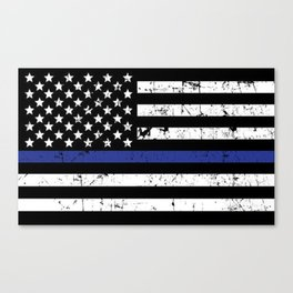 Police Thin Blue Line Flag Canvas Print