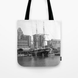 A US Frigate Ship in Baltimore, MD Tote Bag
