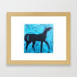 Shadow Horse on Blue Framed Art Print