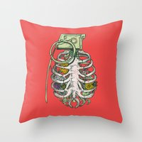 huebucket Throw Pillows featuring Grenade Garden by Huebucket