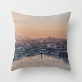 Sunset over Slusen Throw Pillow
