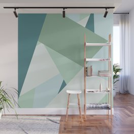 Modern abstract beach color block geometric stripes blue green pattern Wall Mural