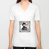 johnlock V-neck T-shirts featuring Happiness Is A Warm Blogger by Marlowinc