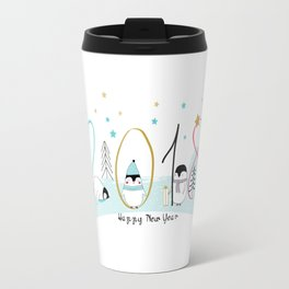 Happy New Year 2018 with penguins Travel Mug