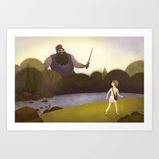 David Faces Goliath (By Emily Dove) Art Print