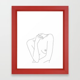 Woman's body line drawing - Cecily Framed Art Print