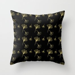 Ginkgo Black Gold Throw Pillow