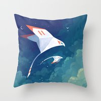freeminds Throw Pillows featuring Flyby by Freeminds