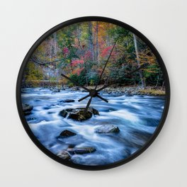 Fall in the Smokies - Autumn Colors at Laurel Creek in Smoky Mountains Wall Clock