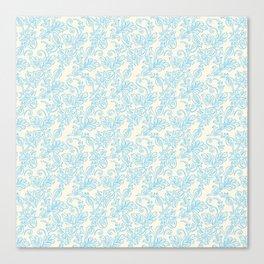 Vintage retro ivory blue shabby floral damask pattern Canvas Print