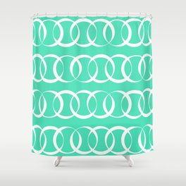 Menthol green and white elegant intersecting circles pattern Shower Curtain