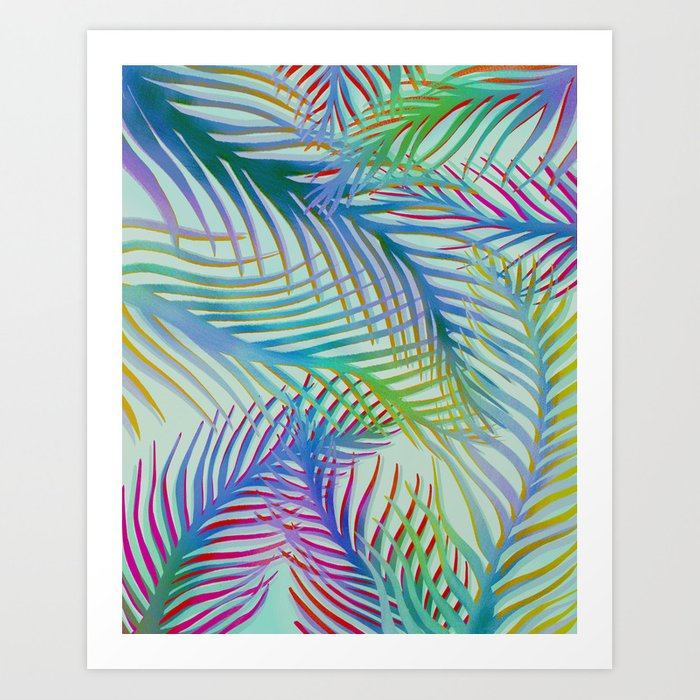 Palm Leaves Pattern - Blue, Purple, Green Art Print