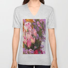 Cheers to Summer Flowers Abstract  Unisex V-Neck