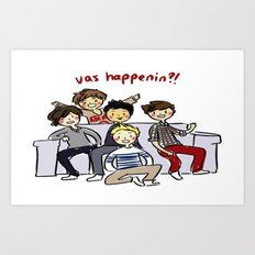 One Direction 'Vas Happenin' Cartoon Art Print