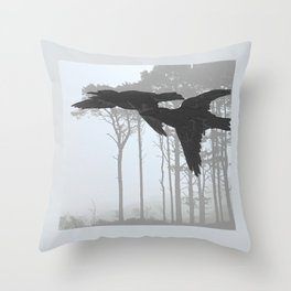 Crow Goes Hunting Throw Pillow