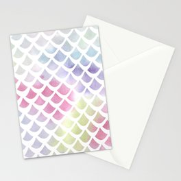 Watercolor fish scale pattern Stationery Cards