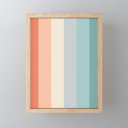 striped color pattern - red , orange, grey, green, Framed Mini Art Print