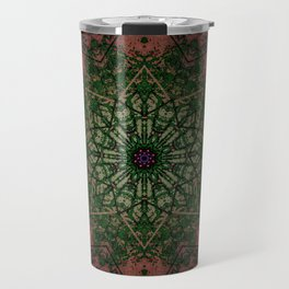 Warm Vintage Detailed Green Mandala Travel Mug