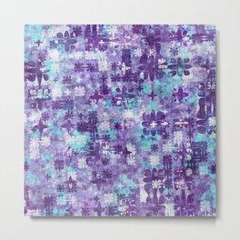 Purple Grime Foral Metal Print