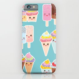 Kawaii cupcakes, ice cream in waffle cones, ice lolly iPhone Case