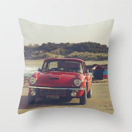 Triumph Spitfire by Mediterranean sea with ship, fine art photo, british car, sports car phorography Throw Pillow