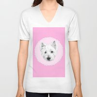 westie V-neck T-shirts featuring Westie  by sarah illustration