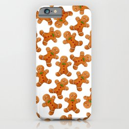 Sweet brown red christmas ginger bread man iPhone Case