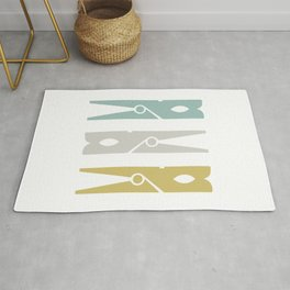Turquoise and Gold Clothespins Rug