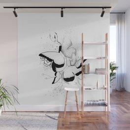 Butterflies Overlap Doodle Art Wall Mural