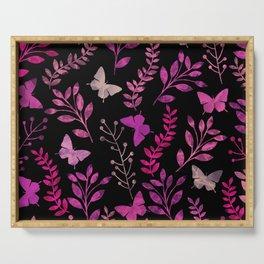 Watercolor flowers & butterflies III Serving Tray