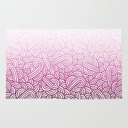 Gradient pink and white swirls doodles Rug