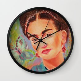 Frida with Butterfly Wall Clock