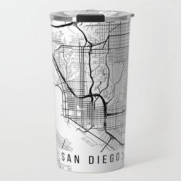 San Diego Map, California USA - Black & White Portrait Travel Mug