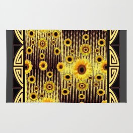 ART DECO GOLDEN SUNFLOWERS DARK GREY-BLACK Rug