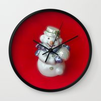 snowman Wall Clocks featuring Snowman  by Svetlana Korneliuk