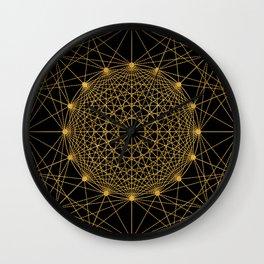 Geometric Circle Black and Gold Wall Clock