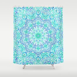 Aqua Kaleidoscope 6 Shower Curtain