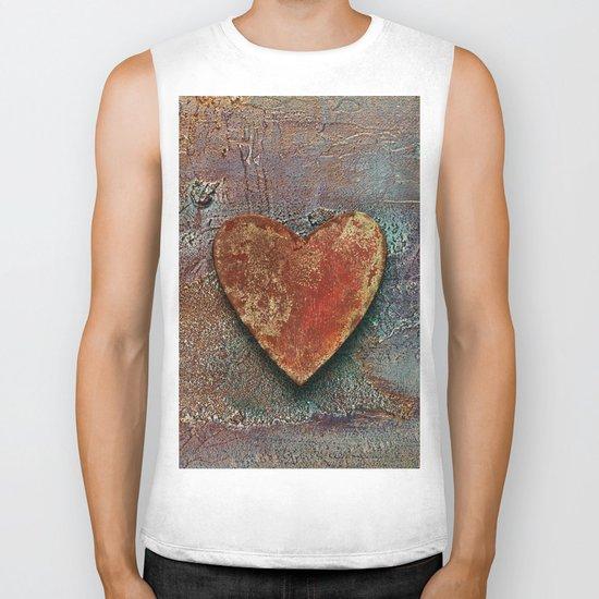 Rusty grunge love heart Biker Tank