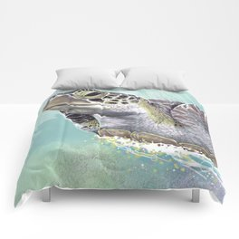 Green Sea Turtle Rides The Waves Comforters