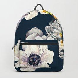 White Flower Rain Backpack