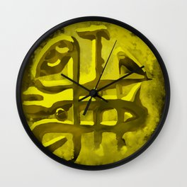 Ikarus Island Golden Coin Wall Clock