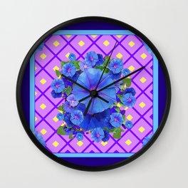 Blue & Purple Morning Glories Pattern Art Wall Clock