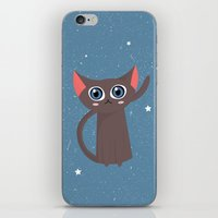 space cat iPhone & iPod Skins featuring Space cat by Alex Fabri