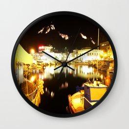 Port Of Myrina At Night Wall Clock