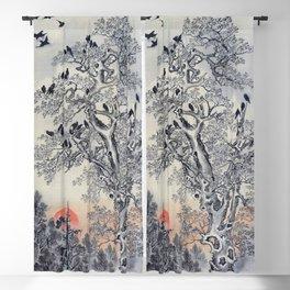 12,000pixel-500dpi - Kawanabe Kyosai - Flock Of Crows At Dawn - Digital Remastered Edition Blackout Curtain