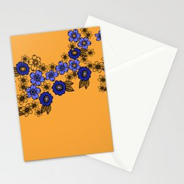 blossom of Flowers blue - yellow Stationery Cards