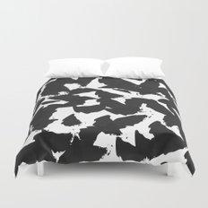 Black Bird Wings on White Duvet Cover