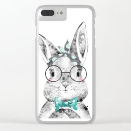 Bunny with Scarf and Bowtie Clear iPhone Case